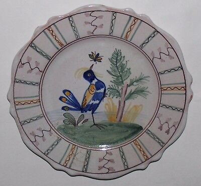 Antique Vintage Tin Glazed Faience Plate with Bird & Insect