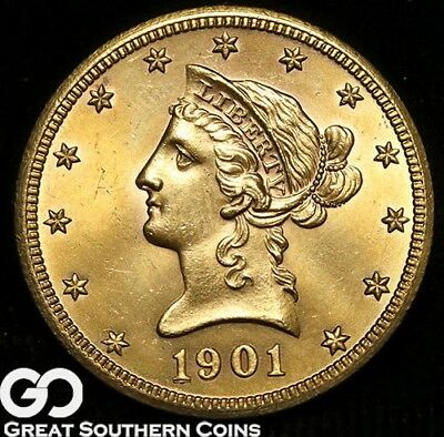 1901-S Gold Eagle, $10 Gold Liberty, Beautiful Solid Gem BU++ ** Free Shipping!