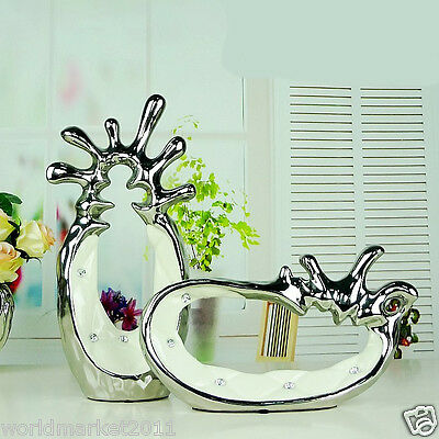 Simplicity Abstract White+Silver Ceramic Home Accessories Decoration 2 Pcs