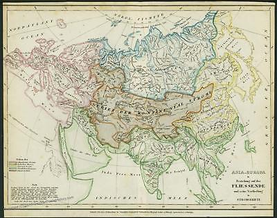 Asia Europe Rivers Antique Map 1852 Comparative Meyer 40651