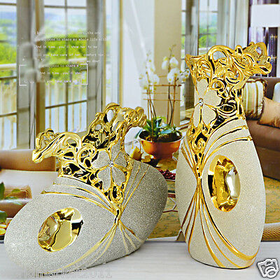 Modern Abstract Golden Ceramic Home Accessories Decoration Embossed Vases 2 Pcs