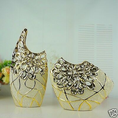 Modern Golden Ceramic Frosted Hollow Out Home Accessories Decoration Vase 2 Pcs