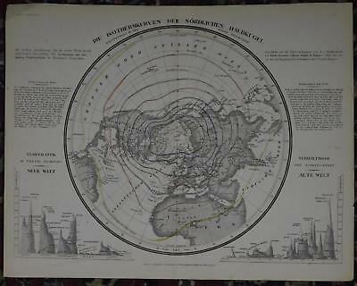 Isotherm Temperature Mountains Northern Hemisphere 1850s Antique Map 60199