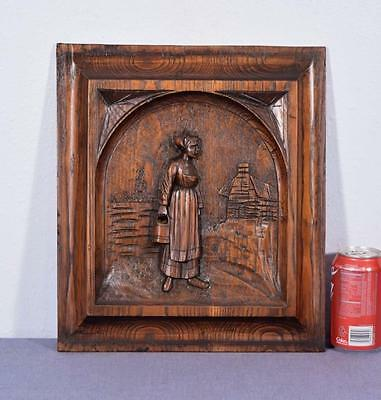 French Antique Breton (Brittany) Panel Chestnut Wood with a Woman