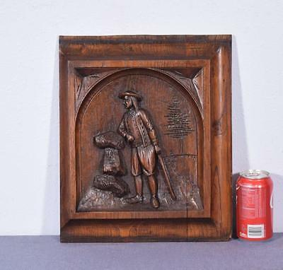 French Antique Salvage Breton (Brittany) Panel Chestnut Wood with a Man