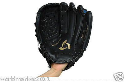 Sporting Goods PU Material 12.5 Inches Wear-Resisting Baseball Glove Black &$