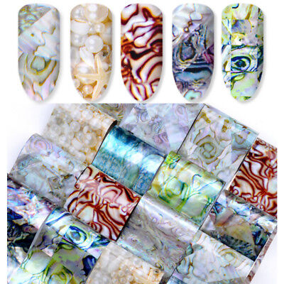 Nail Art Gradient Marble Shell Design Foils Transfer Decals Sticker Decoration