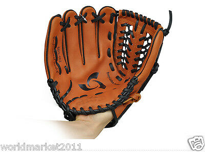 Sporting Goods PU Material 12.75 Inches Wear-Resisting Baseball Glove Brown &$