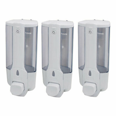 12oz+12oz+12oz Triple Bottle Wall Mounted Liquid Soap Shower Dispenser, White