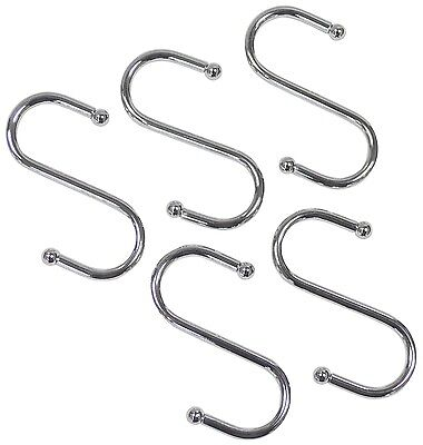 5 x 70mm Chrome Plated Small S Hook Hangers Set DIY Tools Shed Work Office Home