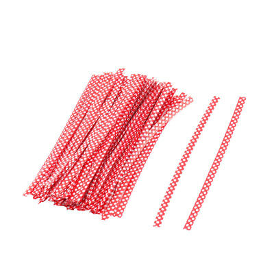 Home Plastic Dots Pattern Gift Bags Packaging Twist Ties Red 10cm Length 100 Pcs