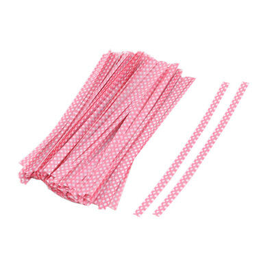 Plastic Dots Pattern Candy Bags Packaging Twist Ties Pink 10cm Length 100 Pcs