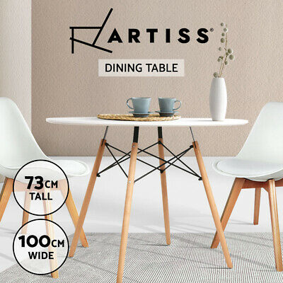 4-Seater Round Replica Eames DSW Eiffel Dining Table Kitchen Beech Timber White