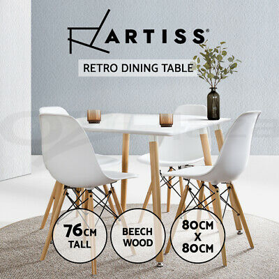 80x80CM Replica Eames DSW Cafe Retro Dining Table Kitchen Beech Wooden White