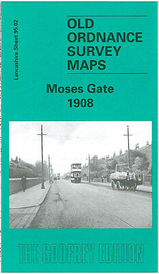 Old Ordnance Survey Map Moses Gate 1908 Dove Bank Farnworth Cemetery River Croal