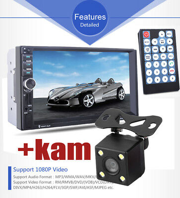 "7"" 2 DIN Bluetooth GPS Navigatore Autoradio Stereo FM USB SD MP5 Player BT+CAM"