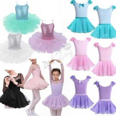 Toddler Girls Gymnastics Leotard Dress Ballet Dance Tutu Skirt Dancewear Sports