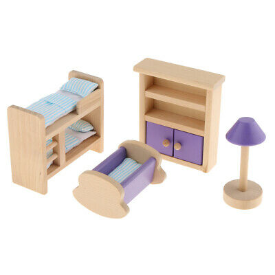 Dollhouse Furniture Miniature Wooden Children Room Set Kids Pretend Play Toy