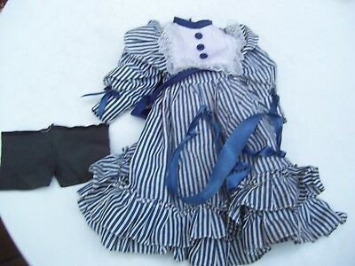 Alte Puppenkleidung Blue White Dress Outfit vintage Doll clothes 50 cm Girl