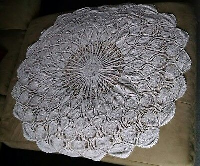 Vintage Crocheted Lace Pineapple Pine Cone Doily Tablecloth Table Topper  EUC