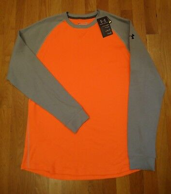 Nwt Under Armour Waffle Thermal Loose Fit Shirt Gray Blaze Orange Mens Large