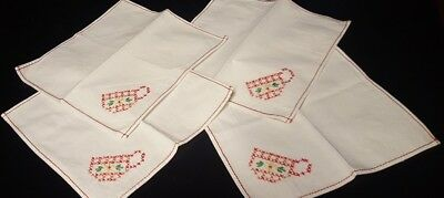 Napkins Four Old W Cross Stitched Red Teacup On One Corner Of Each and Red Trim