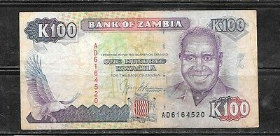 ZAMBIA #34a 1991 VG CIRC OLD 100 KWACHA BANKNOTE PAPER MONEY CURRENCY BILL NOTE