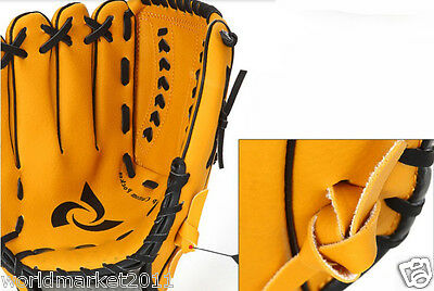 Sporting Goods PVC Material 11 Inches Wear-Resisting Baseball Glove Yellow &$