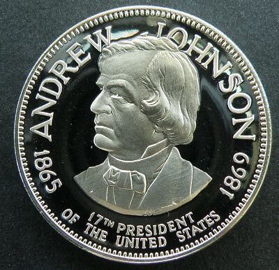 Andrew Johnson 17th President Sterling Silver Medal Proof