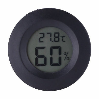 Digital Cigar Humidor Hygrometer Thermometer Temperature Round NEW Black