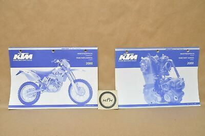 2000 ktm 400 520 sx mxc exc racing chassis engine parts list diagram manual  lot