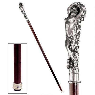 ANDROMEDA WALKING STICK DESIGN TOSCANO pewter cane  gentlemans walking stick