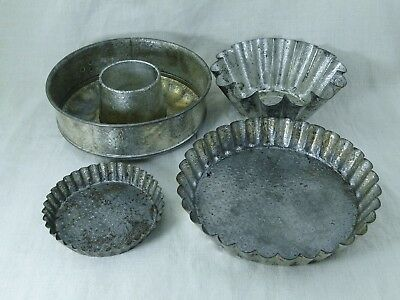 4 x alte Backform mit Muster Relief  Metall aus Frankreich Shabby chic JDL