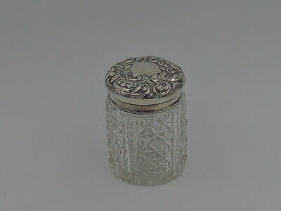 Antique English Repousse Sterling Silver Lid & Star Cut Base Glass Vanity Jar 18