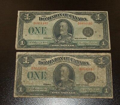 Two Canada Large Size 1923 $1 Dominion of Canada Bank Notes - Campbell/Sellar