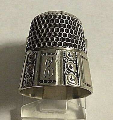 Antique Stern Bros. Sterling Silver  * E * Geometric Paneled Thimble Sewing Sz 8