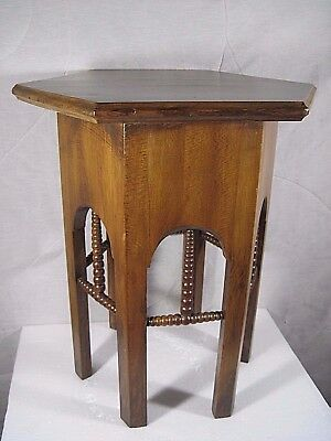 Vintage Antique Arts Crafts Mission Wood Side Table Octagon Wonderful Design