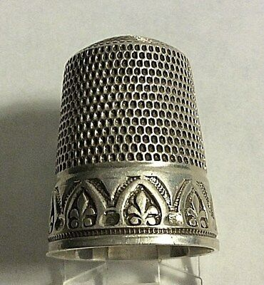 Vintage Simons Bro. Sterling Silver Cathedral Window Design Thimble Sewing Sz 12
