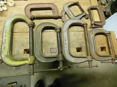 vintage heavy duty C clamps old made in USA mechanics blacksmith tool