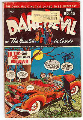 Daredevil Comics 45, G/vg (3.0), 1947 Lev Gleason Publication, Sticker On Cover