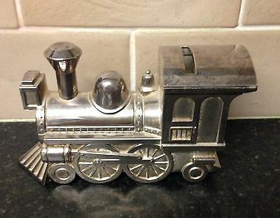 Vintage Metal Silver Plated Money Box. Train Engine