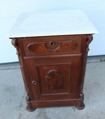 Victorian Renaissance Walnut Night Stand with White Marble Top