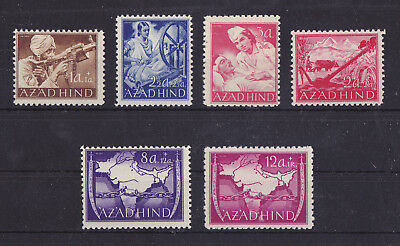 AZAD HIND INDIA 1943 Mint NH Set of 6 Fine Stamps Perf