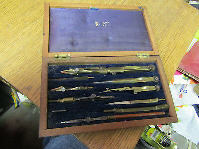 ANTIQUE brass steel DRAFTING NAVIGATION MAPPING compass kit set
