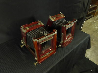 2 Antique Wooden 5 X 4 Gundlach Korona Camera Bodies and Bellows(390)