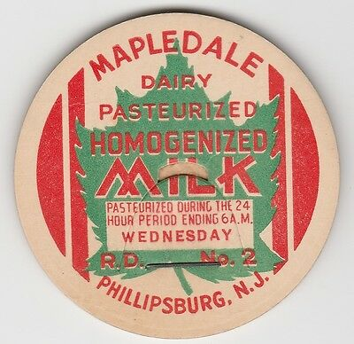 Milk Bottle Cap. Mapledale Dairy. Phillipsburg, Nj.