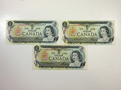Canada 1 Dollar 1973 P-85 Star/Replacement Choice VF to XF (3 pcs)