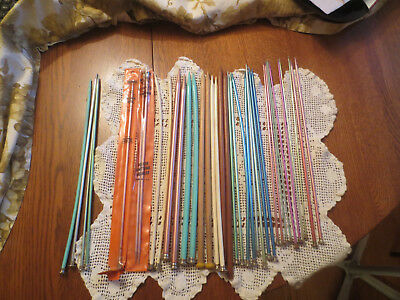 Vintage Lot of 37 Knitting needles assortment lot assorted metal plastic sizes