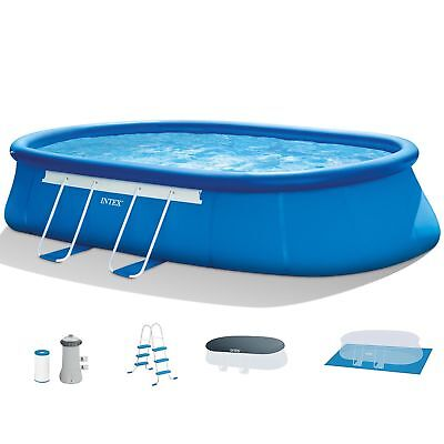 """Intex 18' x 10' x 42"""" Oval Frame Swimming Pool Set with Pump, Ladder, and Cover"""