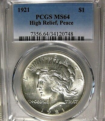 1921 Peace Dollar PCGS Certified MS64 Key Date in the Series